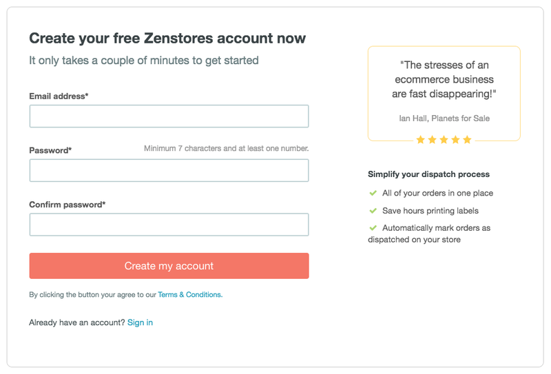 Sign up to Zenstores' free trial