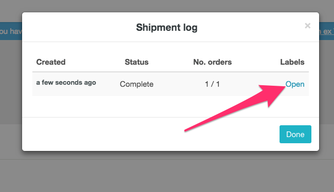 Reprinting shipping labels using the log