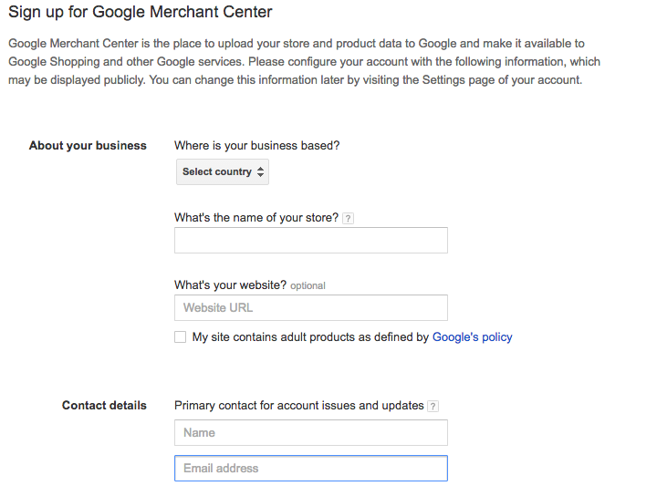 how to sign up to google merchant center