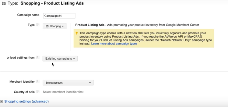 creating a shopping campaign for google shopping