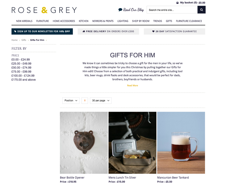 Rose and Grey's Christmas categories for online shop