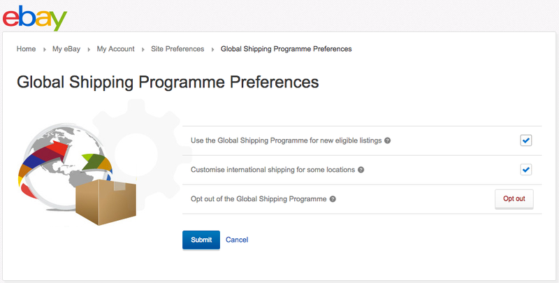 Opt in to eBay's Global Shipping Programme