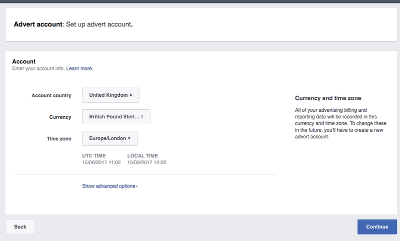 Setting up Facebook Ads creating an account