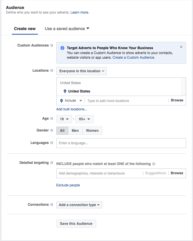 Choosing an audience for Facebook Ads