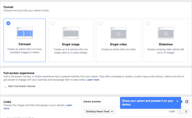 Choosing the format for Facebook Ads