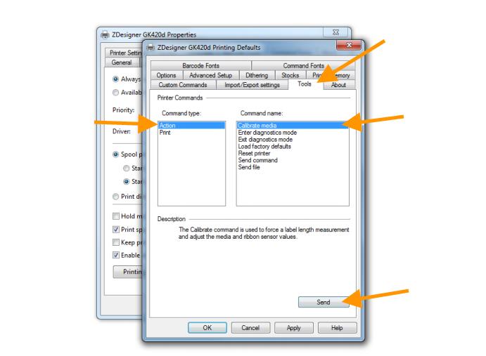 How to configure the Zebra GK420D printer for printing Royal