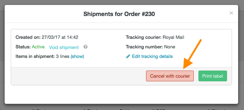 Cancel Royal Mail shipment - 2
