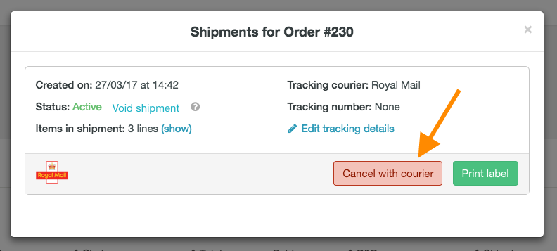 help how to cancel Royal Mail shipment 2