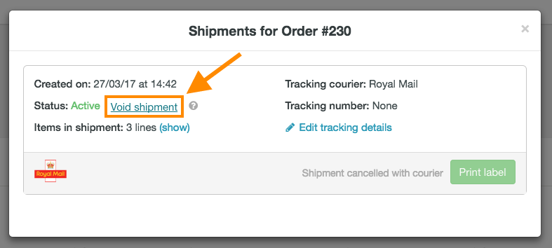 help how to cancel Royal Mail shipment 4
