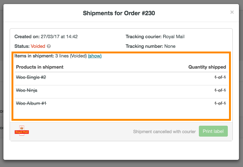 help how to cancel Royal Mail shipment 5