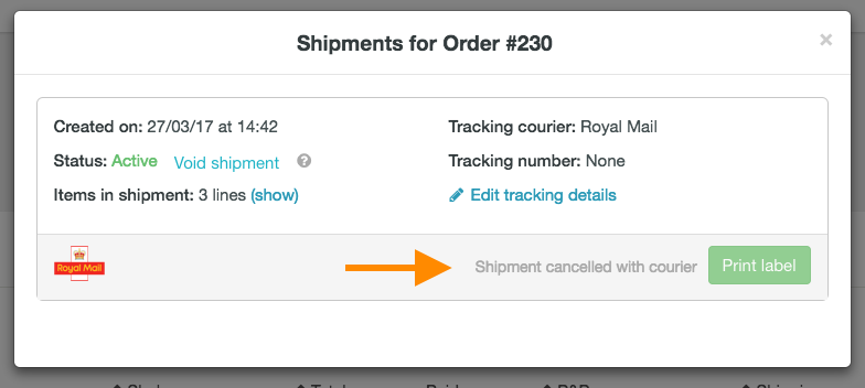 help how to cancel Royal Mail shipment 3