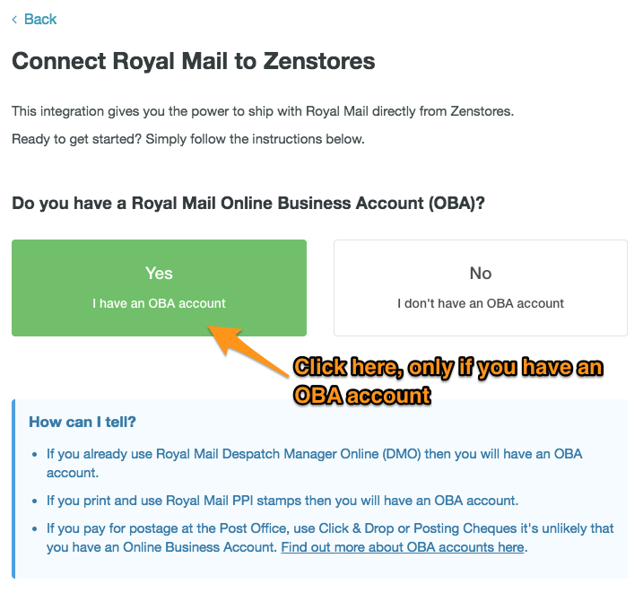 Connecting Royal Mail to Zenstores 2