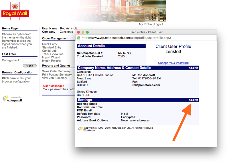 NetDespatch disable booking confirmation emails 02