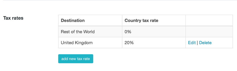 Adding tax rates for different countries in Zenstores