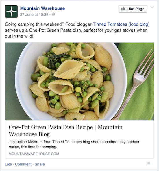 Facebook example - Mountain Warehouse