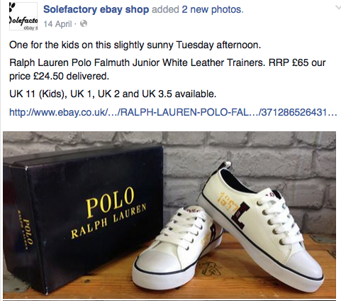 Example Facebook Shop - Solefactory